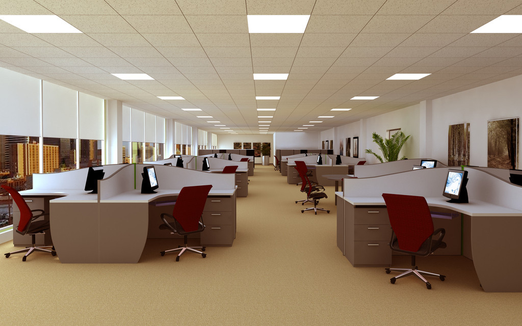LED lighting in open-style office