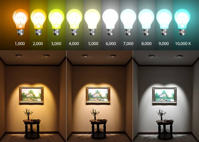 The effects of different coloured lighting